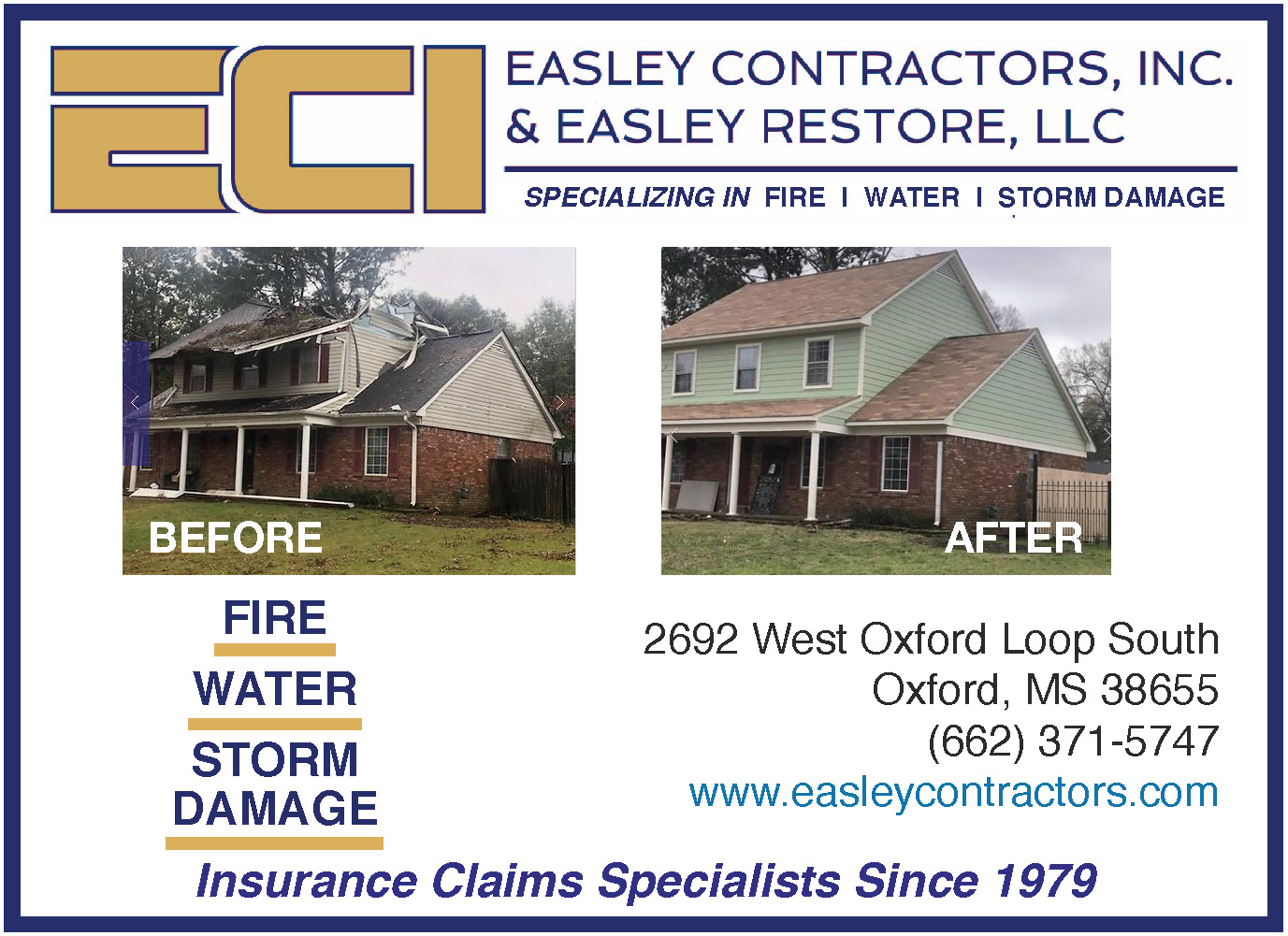 Easley Contractors and Easley Restore Oxford MS